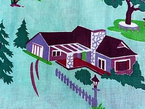 SALE! Mid Century Primitive Farm Barkcloth Era Vintage Fabric 50's Minty Green