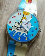 """Maxi Swatch MGK329 """"  GRR! OINK! """" 1999 Rare Collectable Wall Clock Pop Art"""