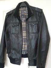 Mens Genuine Black Leather Bomber Jacket Size M