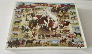 THE WORLD OF HORSES 1000 PIECE PUZZLE RACING EQUESTRIAN COMPLETE NEW AND SEALED