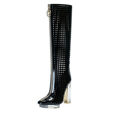 Versace Women's Perforated Leather High Heel Platform Boots Shoes US 7 IT 37