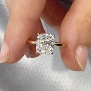 3.00 Ct Cushion Moissanite Solitaire Engagement Ring 14k Multi-Tone Gold Plated