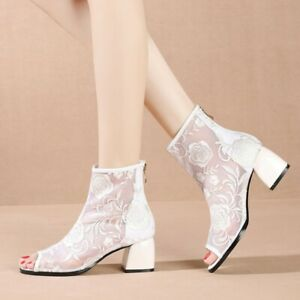 Womens 2020 Summer New Hollow Peep-toe Mesh Boots Sandals Casual Mid-heels Shoes
