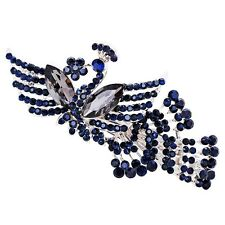USA Barrette Clip using Swarovski Crystal Hairpin Vintage Peacock Blue Gray 3