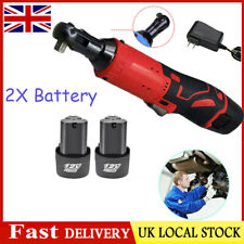 3/8''Electric Cordless 12V 90° 65Nm Right Ratchet Angle Wrench Tool+2 Battery UK