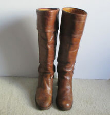 Vintage Handcrafted Frye 8509 Brown Leather Knee High Women's Boots Size 6 1/2 B