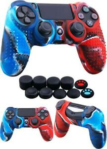 Skin Silicone Case Cover For PS4 Controller Anti-Slip With 10 Thumb Grips