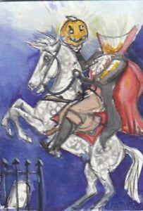 ACEO original Watercolor Art Card Headless HORSEMAN Sleepy Hollow Hallowe'en