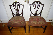 Pair Of Antique Hepplewhite Shield Back Side Chairs, Needle Point Seats Ca.  1790