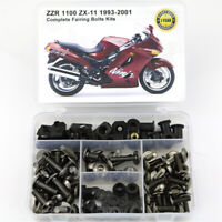 Fit For Kawasaki ZZR1100 ZX-11 1993-2001 Complete Fairing Fasteners Bolts Kit