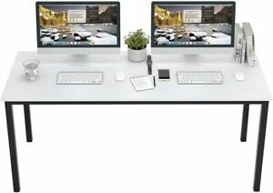 Dland X-Large Computer Desk Office Workstation White Black Wood Table 63 Inches