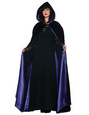 Black Floor Length Gothic Deluxe Cape with Blue Lining