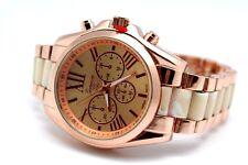 Authentic Geneva Fashion Watch Roman Font Two Tone Golden Rose Gold White Links