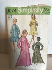 Vtg 70s Simplicity 9074 Misses Robe Raglan Sleeve Long Short A-Line Easy 20 42B