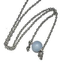 Angelite 10mm Bead Necklace Pendant Minimalist Crystal Quartz Healing Unisex