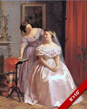 BRIDE & BRIDESMAID IN DRESSES ON WEDDING DAY OIL PAINTING ART REAL CANVAS PRINT