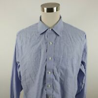 Brooks Brothers Mens Non Iron Slim Fit LS Button Down Blue Striped Shirt 18-34