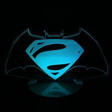 Batman vs Superman Logo Desk Lamp 3D Laser engraved With Remote Control Lights