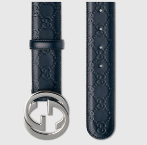 New Authentic Blue Gucci Signature Leather Belt Interlocking GG Buckle Fits 32