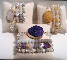 5 WHOLESALE GEM AGATE DRUZY ROCK PAVE BEAD BRACELET SETS ARM PARTY CANDY Stretch