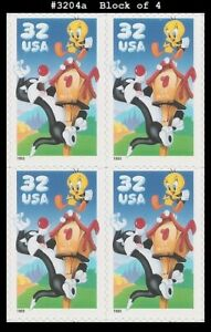 USA3 #3204a MNH BL4 Sylvester & Tweety
