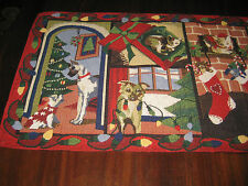Christmas Dogs & Cats Tapestry Table Runner Colorful Red Green 12.5x71 New
