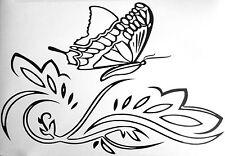 Butterfly On Leaf Wall Art Sticker