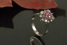 Schmuck Klassischer Rubin Ring mit Diamant in 585er Weißgold 14 Karat