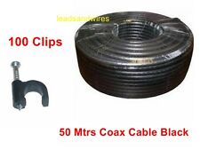 50 Mtr Coaxial Cable RG6  For TV Aerial Satellite Freeview  With 100 Clips
