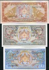 Bhutan Set 3 Pcs 1 2 5 Ngultrum Nd 1985 P 12 13 14 Unc