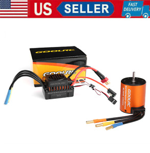 3650 4300KV Waterproof Brushless Motor w/ ESC Combo Set for 1:10 RC Car Truck US