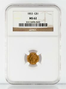 1853 $1 Gold Indian Princess Coin Graded by NGC as MS-62! Gorgeous Early US Gold