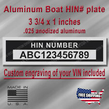 Boat Serial Hull Number HIN Plate with Custom engraving included + Free Shipping
