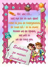 8 Einladungskarten Einschulung Schulanfang Einladungen Schultüte Mädchen