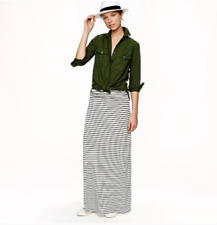 J Crew Navy & White Striped Ruched Waist Maxi Skirt S Buttery Soft Modal Stretch