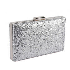 GLITZER PAILLETTEN STRASS ABENDTASCHE CLUTCH ELEGANT PARTY SILBER DAMEN COCKTAIL