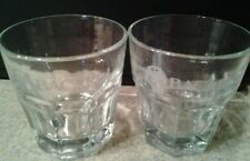 Set of 2 BACARDI Rocks Glasses Tumblers BAT LOGO 8 Panels Libbey Glass Co.