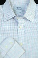 Charles Tyrwhitt Men's White Blue Black Woven Check Cotton Dress Shirt 16 x 34