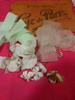 3m tout ruban vert clair fleurs ,chapeau  paille ,ruban cheveux poupées ,