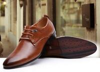 Fashion Men's Pointy Toe Leather Shoes Lace up Oxford Wedding shoes Dress Formal