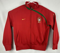 Nike Portugal Jacket Men's XL Full Zip Soccer Futbol Embroidered Striped Red