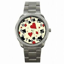 Poker BlackJack Playing Card Suits Red Black Stainless Steel Sport Watch New!