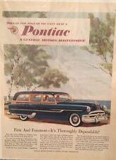 ORIGINAL 1953 PONTIAC STATION WAGON VINTAGE PRINT AD FREE SHIPPING