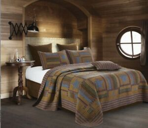 Lodge Star-Patchwork-3 Pc.Quilt Set-King 105 X 95 In With 2 Shams