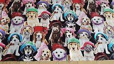 El aclaramiento perros remanente de la tela de algodón 100% 54cm X 46cm Cachorros Quilting recortes de D