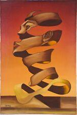 "Vintage Surrealist O/C Portrait Painting 1960-70's Unknown Artist Signed ~19x28"""