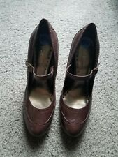 "NEW!! BCBGirls Women's ""Brown/Wine"" Leather Mary Jane Stiletto Pumps Size 6.5"