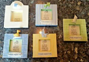 Adorable Two's Company 2x2 Picture Frames for Baby Boy 5 Frames Newborn-5 Months