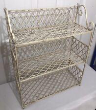Vintage Shabby Chic Wrought Iron Standing Bathroom Kitchen Organizer Shelf