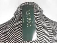 Beautiful Women's Medium Ralph Lauren Black White Vertical Striped SS Knit Top